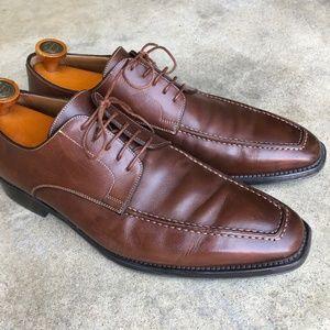 Santoni BROWN Apron Toe Shoes SLEEK 9.5D Soft Sole